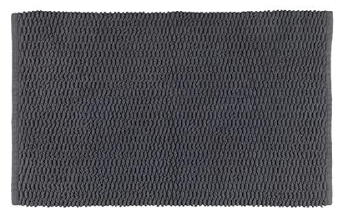 WENKO Alfombrilla de baño Mona, 100% algodón, Color Gris, 50 x 0 x 80 cm