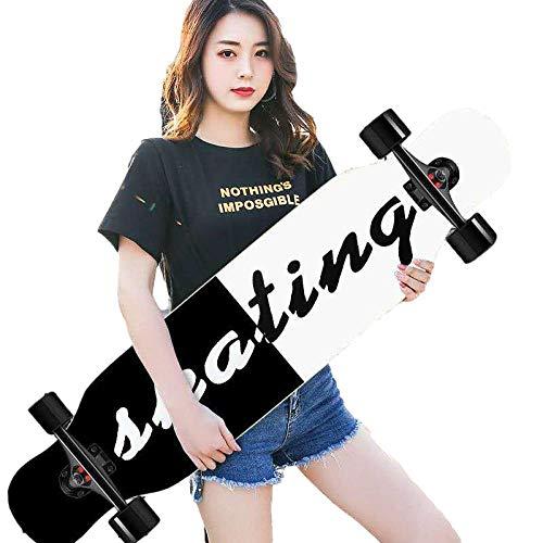 Skateboard para Principiantes de Longboard, 42 'Skateboard Completo 8-caply Maple Concave Cruiser, para niñas niños Adolescentes Adultos-A_42 Pulgadas