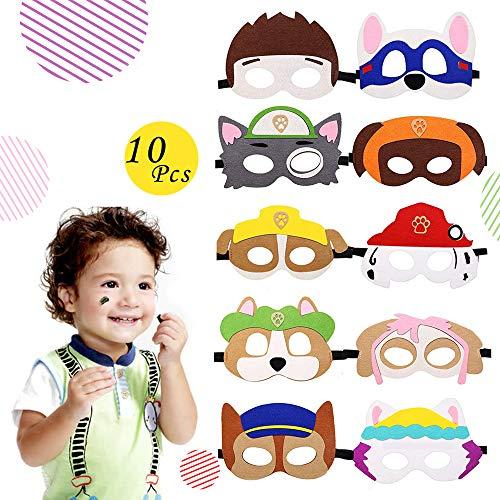 Paw Dog Patrol Spielzeug Puppy Party Masken 10 Stück Kinder Cosplay Masken Cosplay Party Masken Geburtstag Augen Masken passen für für Oster Geschenke Dress Up Party Supplies für Kinder Geschenke