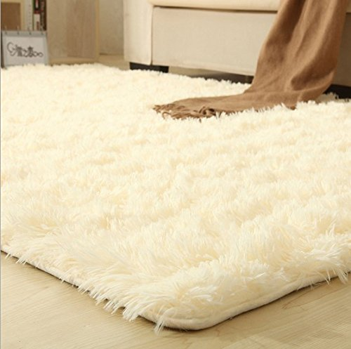 Super Soft Silky Bedroom Rug Living Room Carpet Rug Pure Color Hallway Floor Mats Outdoor Mats Carpet Doormat Bathroom Carpet off white 500mm x 800mm
