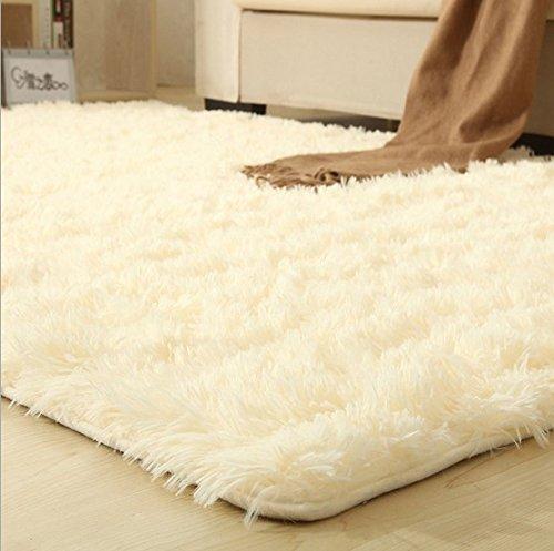 Super Soft Silky Bedroom Rug Living Room Carpet Rug Pure Color Hallway Floor Mats Outdoor Mats Carpet Doormat Bathroom Carpet off white 500mm x 800mm