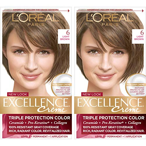 L'Oreal Paris Excellence Creme Permanent Hair Color, 6 Light Brown, 100% Gray Coverage Hair Dye, Pack of 2