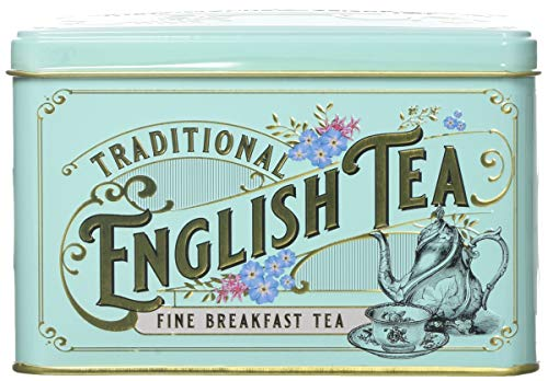New English Teas Vintage Victorian Tea Tin with 40 English Breakfast...