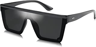 Square Oversized Goggle Sunglasses Women Thick Frame Flat...