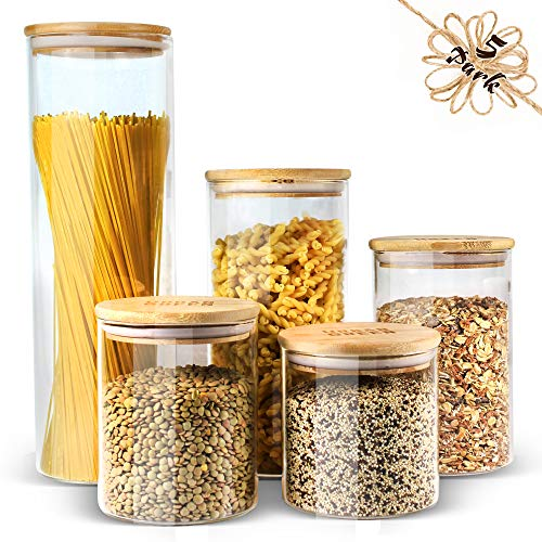 Glass Jars with Lids Urban Green, Glass Airtight canisters sets with bamboo lids, Glass Containers, Pantry Organization and Storage, Kitchen Canisters Sets, Glass Food Jars, Pantry Jars sets of 5