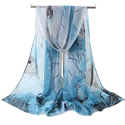 Women's Chiffon Scarf Lightweight Fashion Sheer Scarfs Shawl Wrap Scarves, Light Blue, 160*50CM