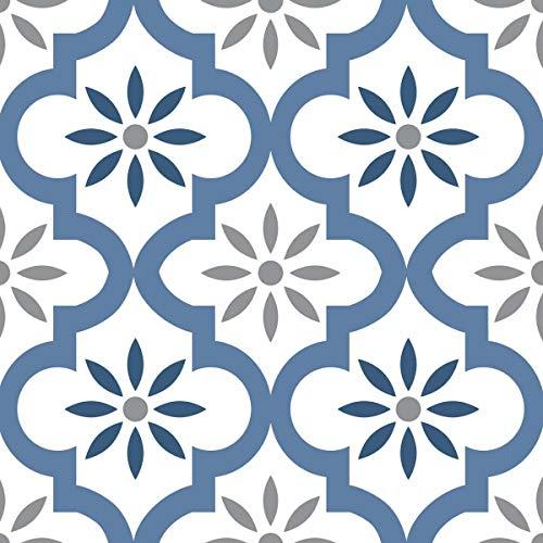 Draeger - Azulejos y baldosas Adhesivos - Pegatinas para redecorar fácilmente su Interior - Juego de 6 Azulejos y baldosas Adhesivas Motivo Azul Oriental 15 x 15 cm