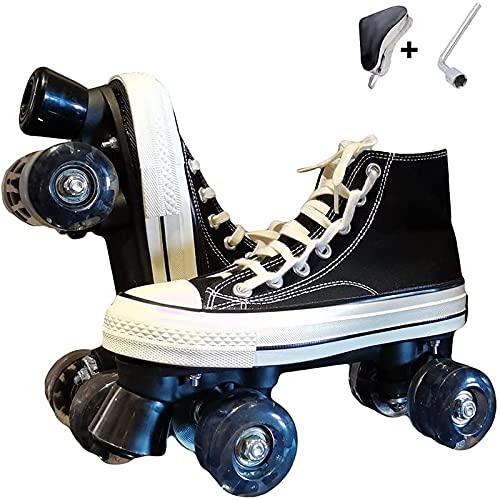 XRDSHY Roller Skates for Women Quad Roller Skates for Children Sport Outdoorschuhe Skateboardschuhe Adults Rollschuhe Double Row Canvas Roller Skates,black-42