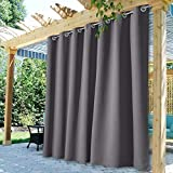 StangH Extra Long Curtains Outdoor - Patio Waterproof Curtains Grommet Indoor Outdoor Blackout Curtains for Pergola, Heavy Duty Room Divider Curtains, Grey, W100 x L108 inches, 1 Panel