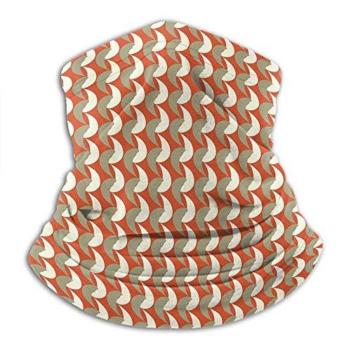 Tubular cuello calentador bandanas geométricas unisex anti-polvo lavable abstracto ornamental S surreal arte moderno tono bermellón crema salvia verde