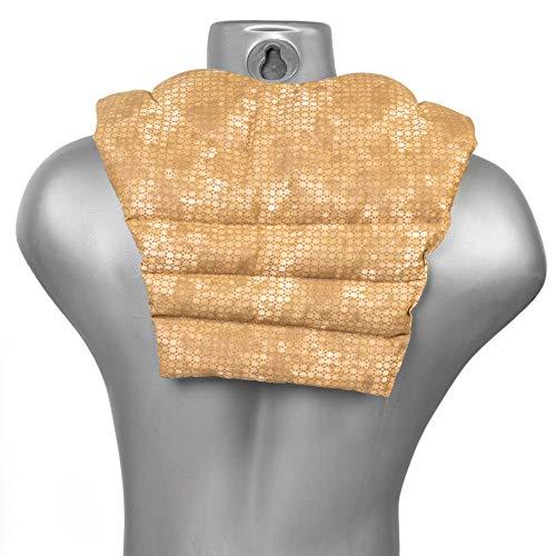 Saco térmico de semillas - Cojín para el cuello con parte dorsale - Cojín cervical caliente para la espalda - Almohada térmica - Semillas de lino (color: batik oro)