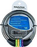 probock Candado de cable para bicicleta infantil | gris negro | cerrojo de combinación numérica | Medidas 10 x 650 mm | Edición 2019