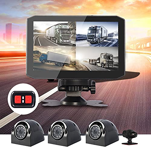 VSYSTO 4CH Dash Cam Recording Camera Recorder DVR Front & Sides & Rear 1080P for Semi Trailer Truck Van Tractor with Infrared Night Vision Lens, 7.0'' Monitor