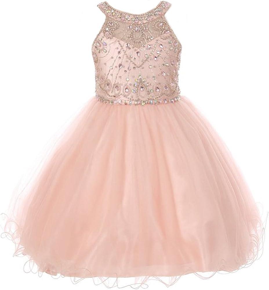 CrunchyCucumber Illusion Neckline Rhinestones Halter Neck Wired Tulle Girl Dress