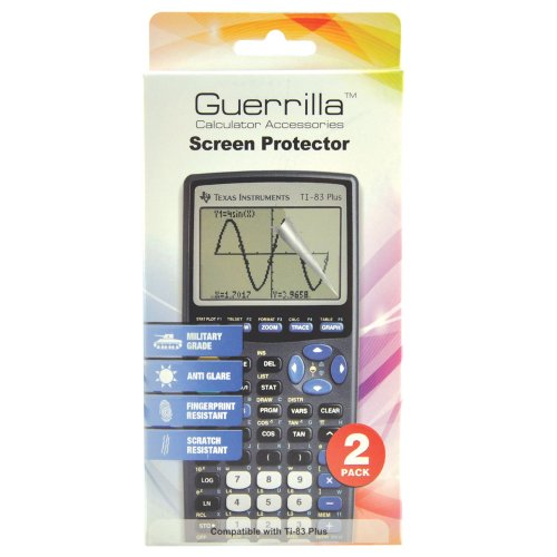 Guerrilla Military Grade Screen Protector 2-Pack For Texas Instruments TI 83 Plus Graphing Calculator