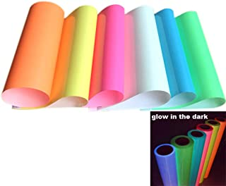 PU Heat Transfer Vinyl Glow in The Dark Iron ons for T-Shirt Noctilucent,6 Sheets A4 Size (Luminous)