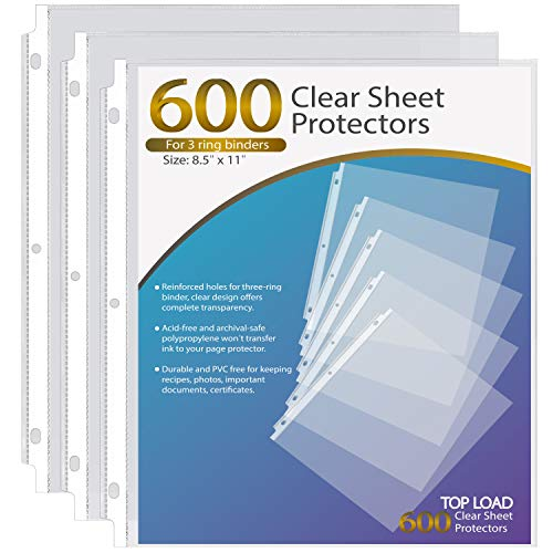 Ktrio Sheet Protectors 8.5 x 11 Inches Clear Page Protectors for 3 Ring Binder, Plastic Sleeves for Binders, Top Loading Paper Protector Letter Size, 600 Pack