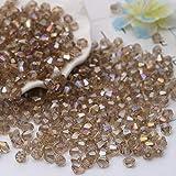 DIY 4 mm 1000 cuentas de cristal bicono facetado a granel con caja de cuentas para hacer joyas, Champán Ab