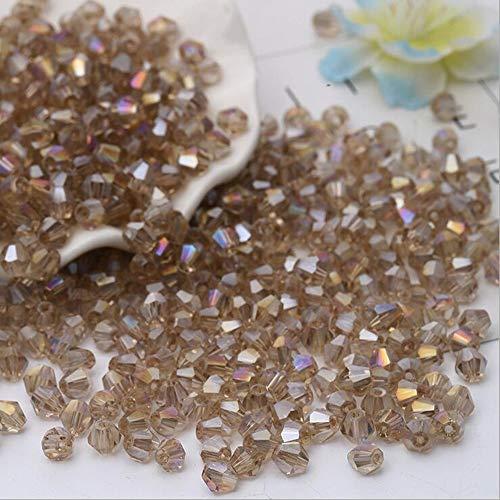 DIY 4 mm 1000 Stück facettierte Doppelkegel Kristall Glasperlen mit Behälter Box Perlen für Schmuckherstellung, CHAMPAGNE AB