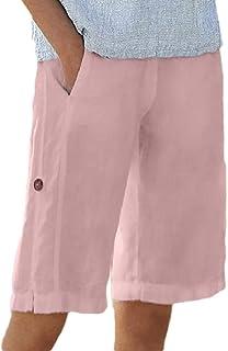 Ptyhk RG Women Bermuda Knee-Length Solid Color Casual Cotton Linen Shorts