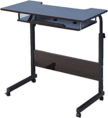 HAIPENG Home Study Desk Desk Laptop Table with Movable Pulley Adjustable Height (in 4 Colors Optional) (Color : B, Size : L*W*H: 80 * 40 * 90cm)