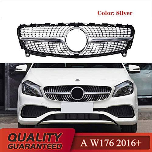 XKCCHW Diamantgrill für Mercedes A-Klasse W176 A180 A200 A260 A45 2016-2018 W176 Grill ohne Emblem Silber silber