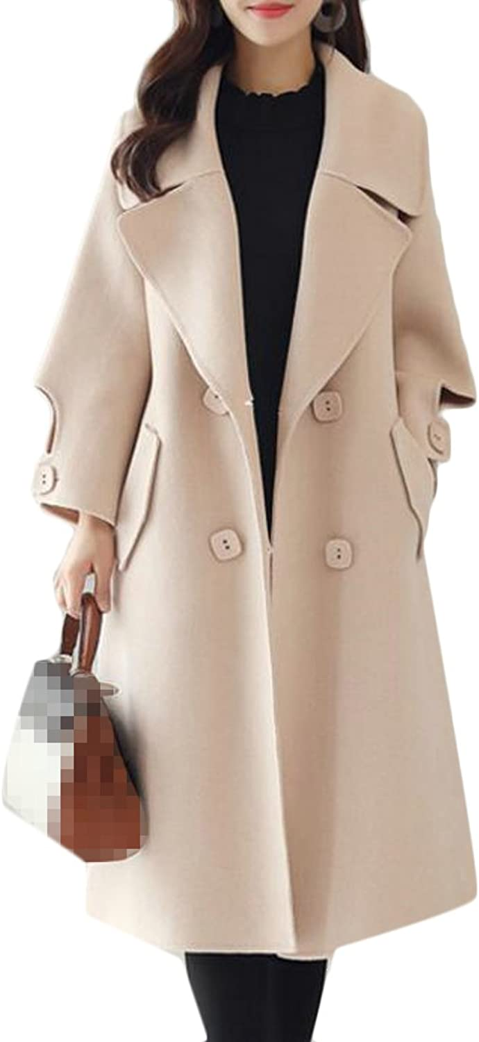Pandapang Womens Winter Peacoat Double Breasted Belted Lapel Wool Outwear