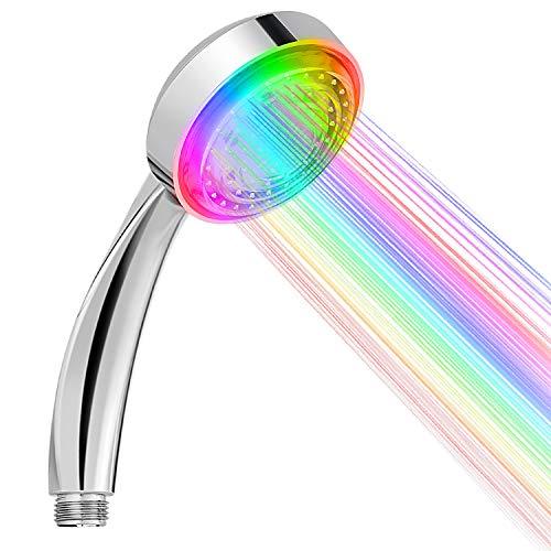 Sooair LED Duschkopf, Regendusche Handbrause 7 Farben Licht Automatische, Wassersparender Brausekopf Duschbrause mit Farbwechsel LED Handbrause für Sprühung Massage und Badezimmer Dekoration