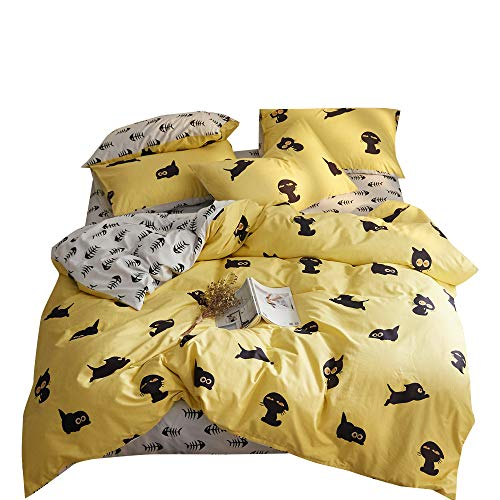 Lovely Kitty Yellow White Twin Kids Bedding Duvet Cover Set Black Cat Pattern 100% Cotton Bedding Collections for Girls Boys Kids Children Teen Adults