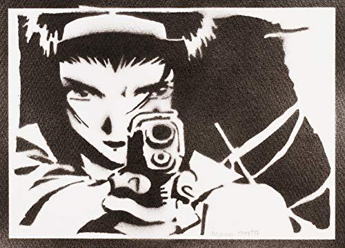 Poster Cowboy Bebop Faye Valentine Grafiti Hecho a Mano - Handmade Street Art - Artwork