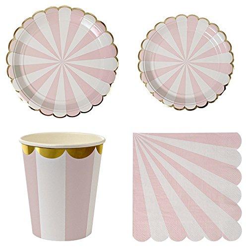 GUOYIHUA Assiettes en Papier jetables Serviettes Plateaux à Dessert Tasses Vittate Vaisselle pour Pique-Nique, fête jetable, Rose, Shown