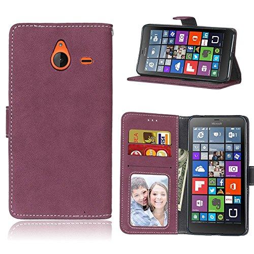 pinlu Hohe Qualität Retro Scrub PU Leder Etui Schutzhülle Für Microsoft Lumia 640 XL Dual-SIM Lederhülle Flip Cover Brieftasche Mit Stand Function Innenschlitzen Design Rose Red