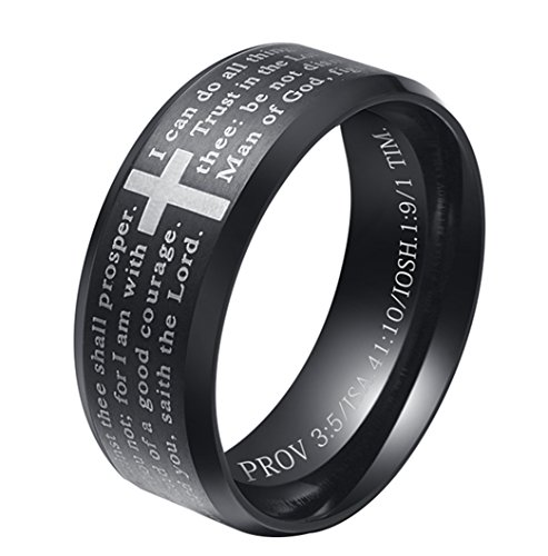 ALEXTINA Men's 8MM Stainless Steel Bible Verse Christian Lord's Prayer Cross Ring Wedding Band Black Size 7