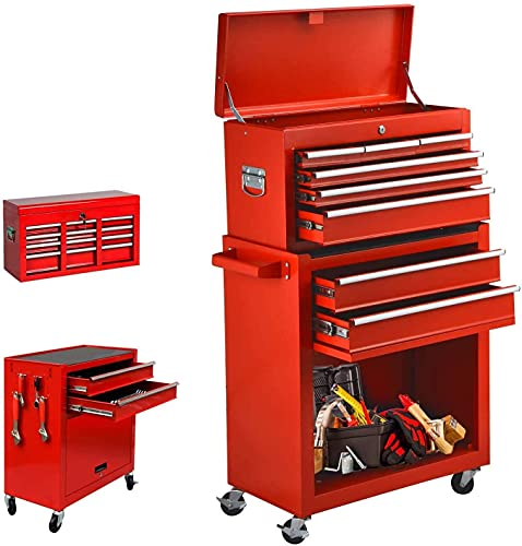 8-Drawer Rolling Tool Chest, High Capacity Tool Chest Tool Cabinet with Keyed Locking System, Removable Tool Box Organizer, Tool Box with Sliding Drawers and 4 Wheels for Workshop Garage (Red)