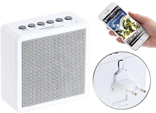 auvisio Badradio Steckdose: UKW-Steckdosenradio mit Bluetooth, Freisprecher, USB-Ladeport, AUX-in (Radio Badezimmer)