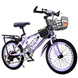 Bicicleta para niños Bicicleta de niña de Velocidad Variable de 7-12 años con Asiento Trasero Bicicleta de montaña de 20 Pulgadas púrpura con Freno