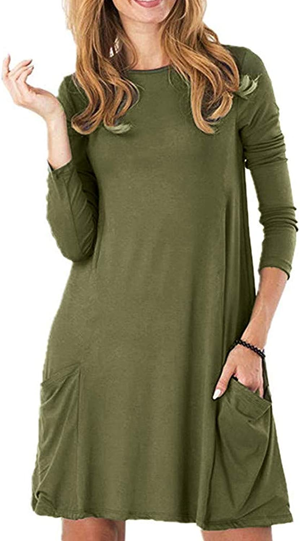 Lotus.Flower Women's Casual Pockets Plain Flowy Simple Swing TShirt Loose Tunic Dress (L, Army Green)