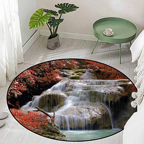 Round Floor Mat for Toilet Non Slip Waterfalls Flows Through Giant Rocks Surrounded by Fall Trees Diameter 54 inch Low-Profile Mats