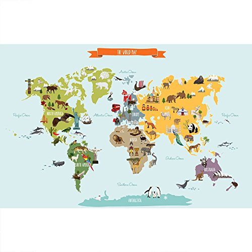 Simple Shapes World Map Peel and Stick Wall Print (Small - 35