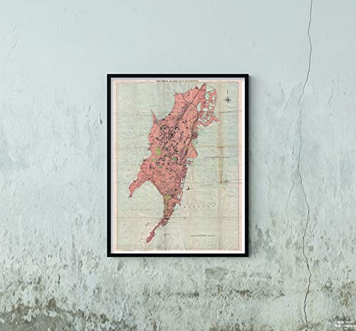 1895 Times of India of Bombay, India Map|Vintage Fine Art Reproduction|Size: 18x24|Ready to Frame