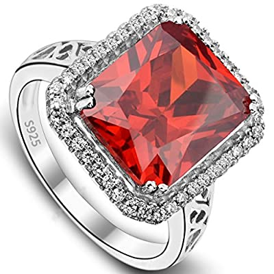 EVER FAITH Women's 925 Sterling Silver 5 Carats Radiant Cut CZ Party Statement Ring Orange-Red - Size 6