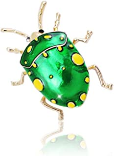 N/W Green Painted Copycat Bedbug Brooch Enamel Insect Pin Jewelry Gold Color Summer Brooch Pin