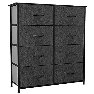 YITAHOME Storage Tower with 8 Drawers - Fabric Dresser with Large Capacity, Organizer Unit for Bedroom, Living Room& Closets - Sturdy Steel Frame, Easy Pull Fabric Bins & Wooden Top (Black/Grey)