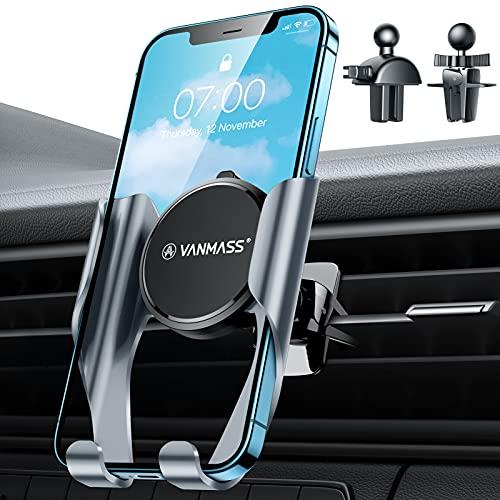VANMASS Kfz Handyhalterung Auto Lüftung Upgrade Adaptive Verriegeln Handyhalter Fürs Auto mit 2 Lüftungsclip Universale Smartphone Halterung Auto für Alle Handy Alle Auto Wie iPhone Samsung Huawei LG