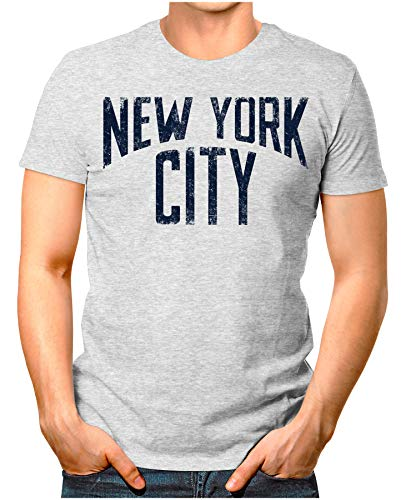Legendary Items™ - New-York-City - Herren T-Shirt Live in NYC Vinyl Release Music Vintage Verwaschen Grau Meliert L