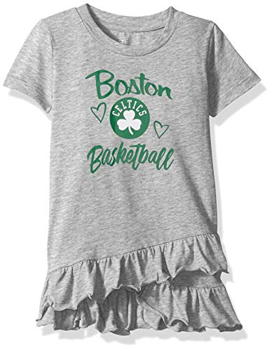 NBA by Outerstuff NBA Newborn & Infant Boston Celtics 'Claim to Fame' Ruffle Dress, Heather Grey, 18 Months