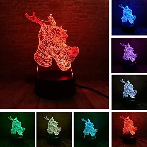 Dragon Gradient Friend Toy 3D LED Nachtlicht USB Tischlampe Kinder Geburtstagsgeschenk Nachtdekoration am Bett