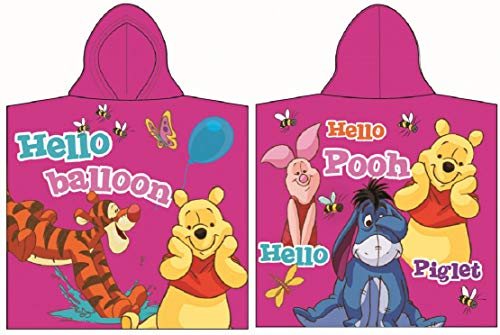for-collectors-only Winnie Puuh Poncho Hello Balloon Handtuch Disney Kinder Badetuch Strandtuch Beach Towel Winnie The Pooh Badeponcho Pink