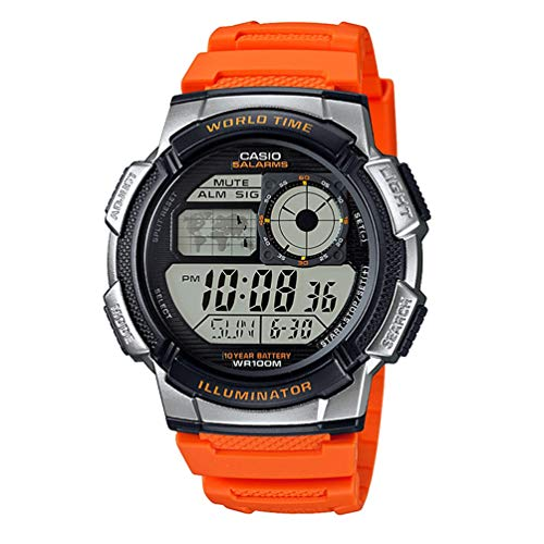 Casio Men's '10-Year Battery' Quartz Resin Casual Watch, Color:Orange (Model: AE-1000W-4BVCF)