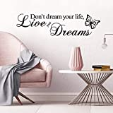 Supzone Don't Dream Your Life,Live Your Dream Wall Decals Inspirational Quotes and Sayings...